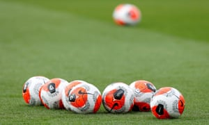 Match balls on the pitch before Southampton's meeting with Aston Villa on 22 February - before the coronavirus crisis caused sport to shut down.