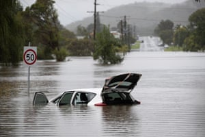 Stroud Street floods in Bulahdelah, NSW, after the Myall River broke its banks