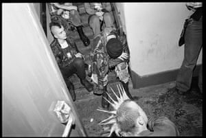 'This is the scene that greeted you as you came through the front door – a pile of irreverent punks that you had to climb over to get to the main gig room upstairs. Getting back out again was a much trickier task.'