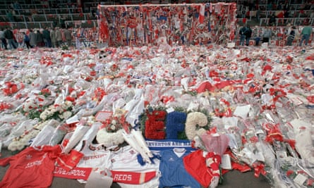 Tributes are placed at Anfield, two days after Hillsborough.