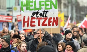A demonstration in support of refugees in Mannheim, January 2015.