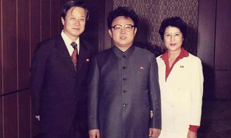 Kim Jong-il, centre, with the couple he kidnapped to help improve North Korean films