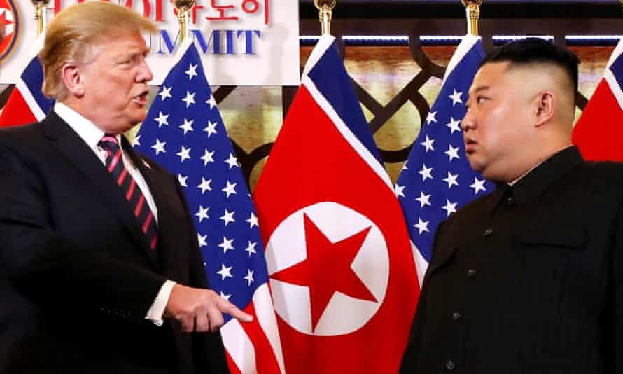 Donald Trump speaks to Kim Jong-un during the second US-North Korea summit at the Metropole Hotel in Hanoi, Vietnam.
