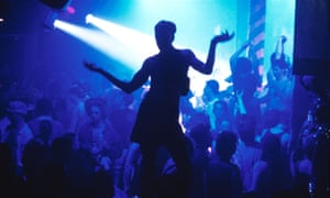 Silhouette of a clubber dancing at the Hacienda