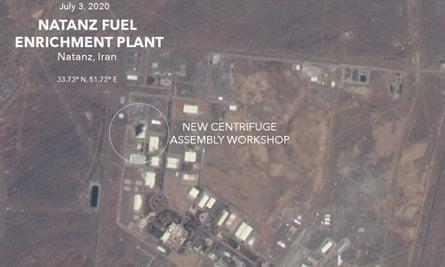 Satellite image of damaged building