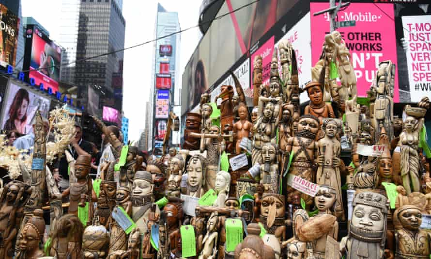 Confiscated ivory in Times Square, New York