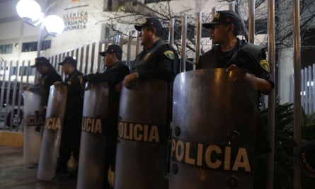 Police officers stand outside the Lima hospital were Peru's jailed ex-president Alberto Fujmori was hospitalised. The president of Peru, Pedro Pablo Kuczynski, on Sunday granted him humanitarian pardon.