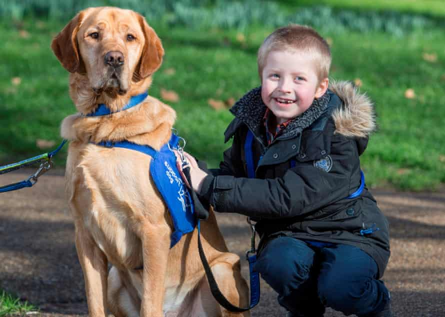 Cohen and his autism assistance dog, Azerley
