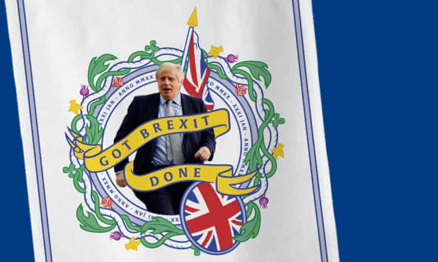 Putting the kitsch into kitchen … the Tories' Brexit tea towel.