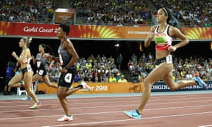 Niamh Emerson of England, Angela Whyte of Canada and Katarina Johnson-Thompson of England compete in the women's heptathlon 800m.