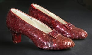 """The sequin-covered ruby slippers worn by Judy Garland in """"The Wizard of Oz""""."""