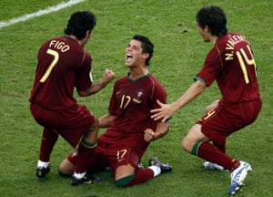 Cristiano Ronaldo, Luís Figo and Nuno Valente in action at the 2006 World Cup.