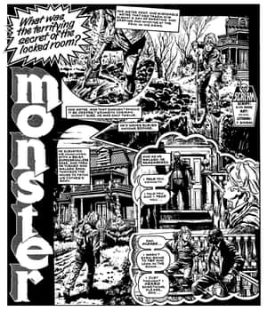 A page from Alan Moore's comic Monster, on which he worked with John Wagner, the creator of Judge Dredd. Illustrations: 2000 AD