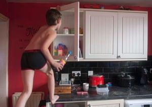 Emma's son Elliot at home in Darwen, 2019