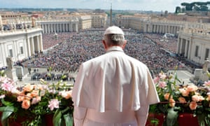 "Pope Francis during the ""Urbi et Orbi"" blessing for Rome and the world from the central loggia of St Peters' basilica"