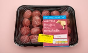 Waitrose British beef meatballs with yellow 'reduced' sticker