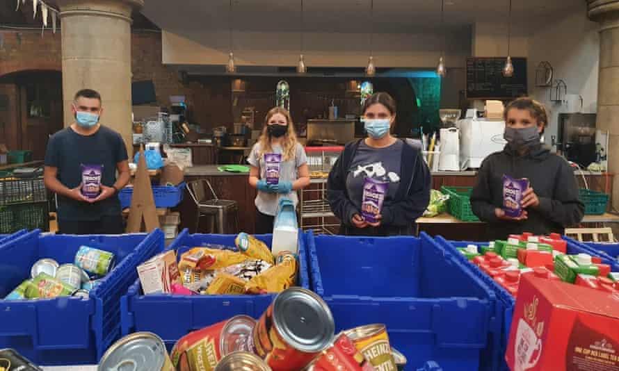 Volunteers at a food bank in Earlsfield, south London, December 2020