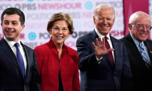 Pete Buttigieg, Elizabeth Warren, Joe Biden and Bernie Sanders at a debate in California last month.