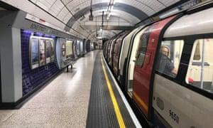 An empty platform at rush hour at Bond Street station.