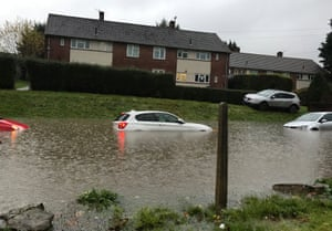 Cars under flood water on Whitchurch Lane in Hartcliffe, Bristol.