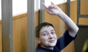 Nadiya Savchenko at a hearing into her case.