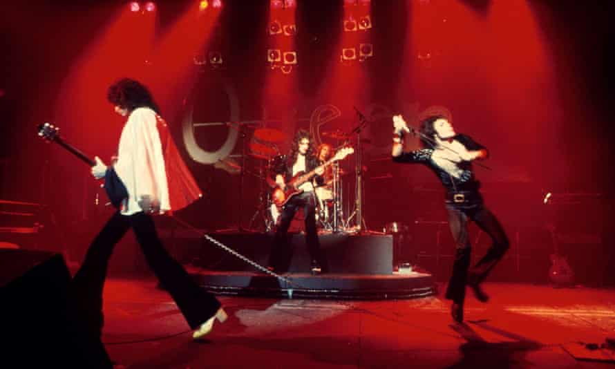 Queen on stage in 1974: Brian May, John Deacon, Roger Taylor and Freddie Mercury