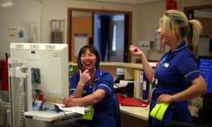 Nurses Josephine Warner and Hannah Hall work in the nurses station in Ward 24 at Milton Keynes University Hospital