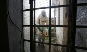 Fumigation at a house in São Paulo, Brazil, to hinder spread of the mosquito Aedes aegypti, which transmits Zika.