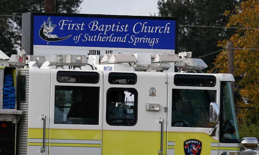 A fire truck in front of the First Baptist Church.