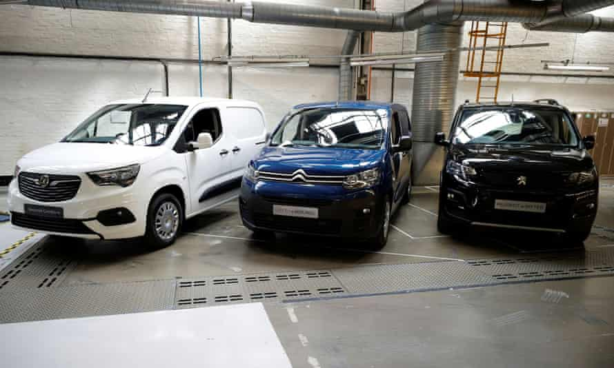 The Vauxhall Combo-e, Citroën e-Berlingo and Peugeot e-Rifter at the Vauxhall factory in Ellesmere Port