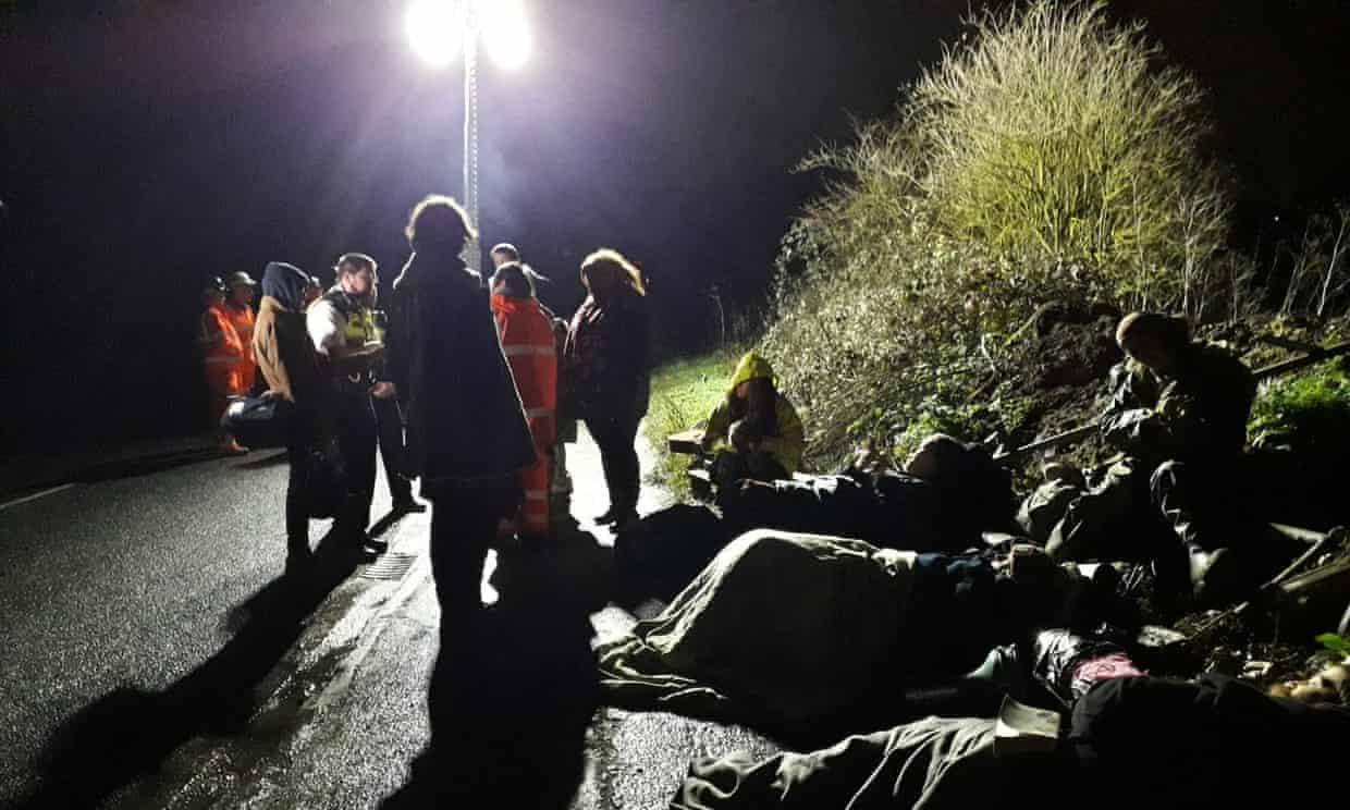 Environmental activists shackle themselves in the Colne Valley nature reserve in protest at the HS2 high-speed rail link.