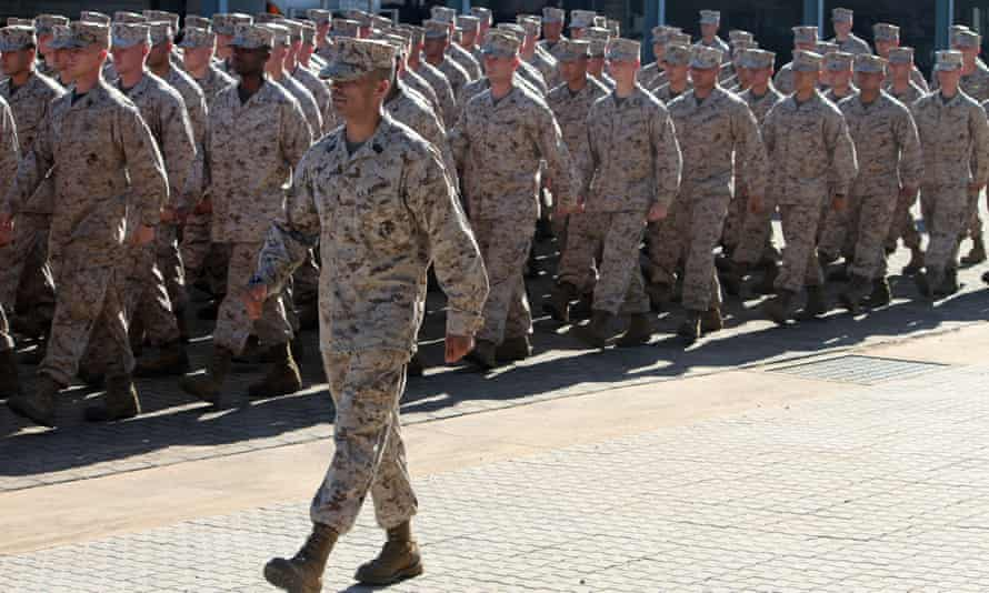 Some of the 200 US Marines during an official welcome ceremony at Robertson Barracks in Darwin.