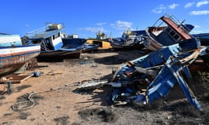 The so-called boat cemetery in Lampedusa, where skiffs are dumped after the crossing from North Africa.