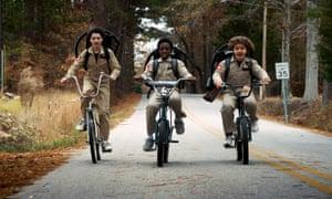 Finn Wolfhard, Caleb McLaughlin, Gaten Matarazzo in Stranger Things season 2.