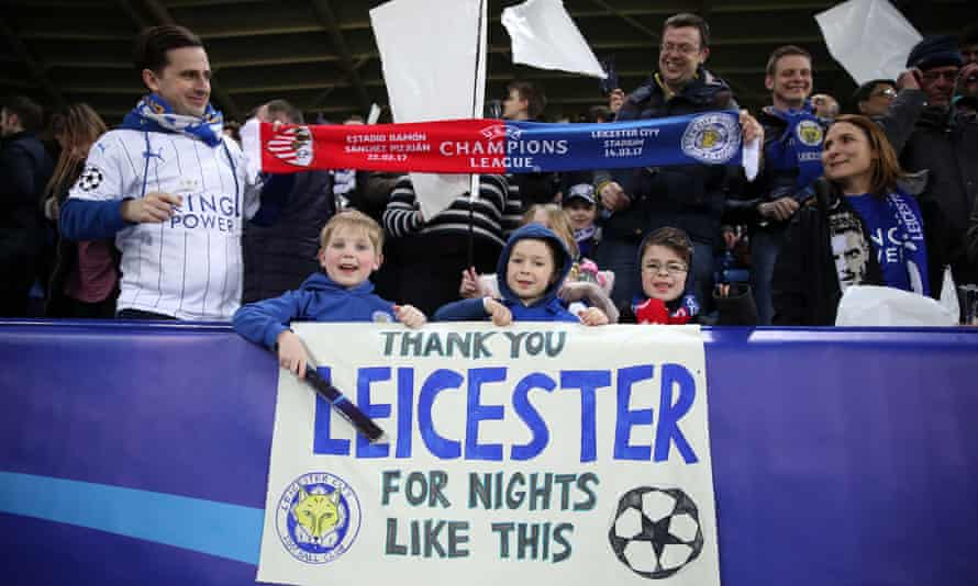 Leicester City fans at the Champions League game against Sevilla