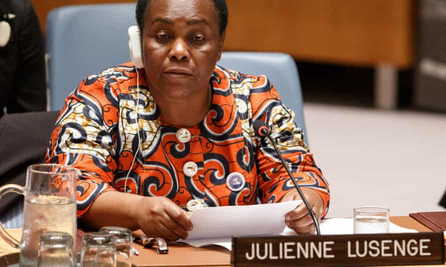 The seasoned women's rights campaigner Julienne Lusenge addresses the UN security council debate on women, peace and security