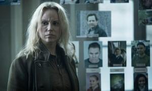 Sofia Helin as Saga Noren in the Danish-Swedish crime drama The Bridge.