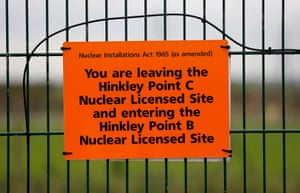 A sign marking the borders of the Hinkley Point C site.