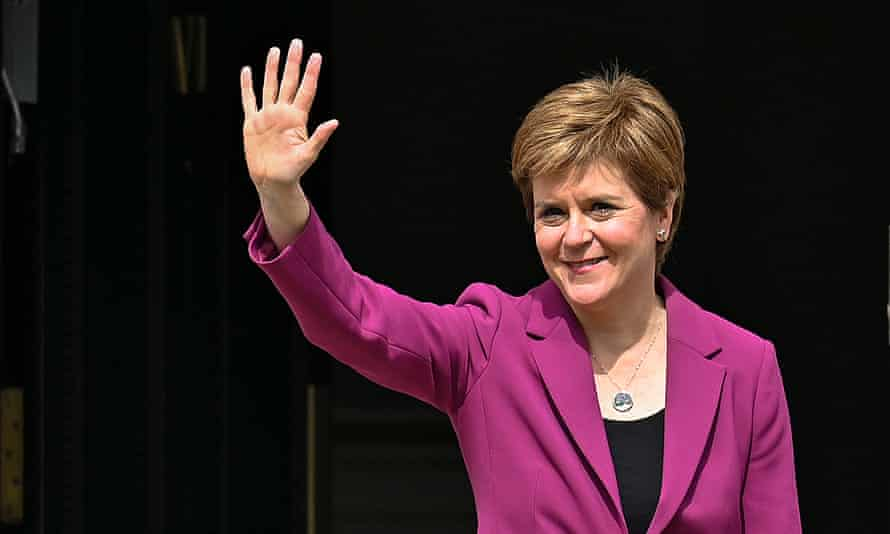 Nicola Sturgeon arrives back at Bute House after the SNP won a historic fourth term in government.
