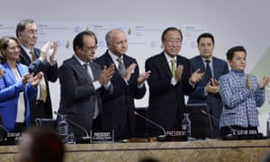 This file photo taken on December 12, 2015 shows French Ecology Minister Segolene Royal (L), French President Francois Hollande (2ndL), French Foreign Minister Laurent Fabius (C) and United Nations Secretary General Ban Ki-moon (2ndR) applauding after a statement at the COP21 Climate Conference in Le Bourget, north of Paris. Some scientists worry that the agreement focused on short-term climate change.