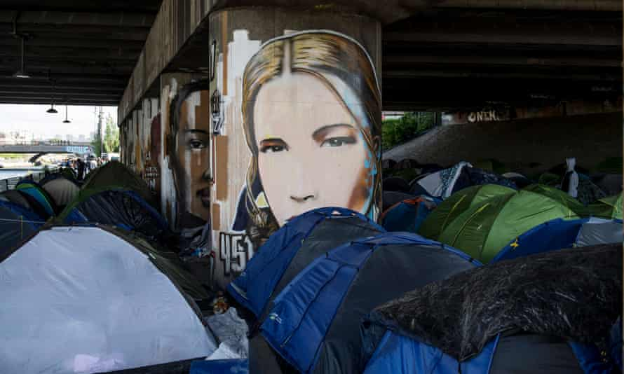 A makeshift camp along the Canal Saint-Denis in Paris.