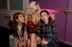 'I don't need to have kids because I have her': Bria Vinaite with Brooklynn Prince and Valeria Cotto in London in October 2017.
