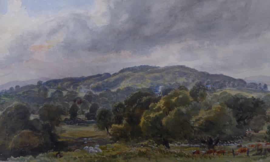 Watercolour (circa 1860-80) by the 11th baronet, Sir Thomas Dyke Acland, depicting fertile scrubland near Exeter.