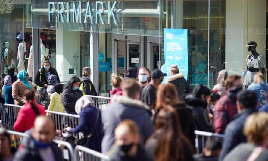 Shoppers queue outside Primark store in Stoke on Trent on 12 April
