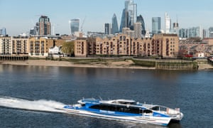 The Thames Clippers passenger service operating on the River Thames in London