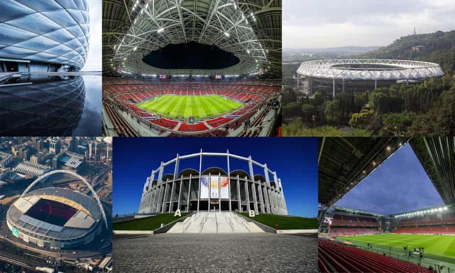 From top left; Football Arena Munich, Puskas Arena in Budapest, Stadio Olimpico in Rome, Parken Stadium in Copenhagen, National Arena in Bucharest and London's Wembley Stadium.