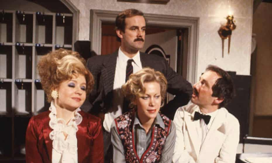 The cast of the BBC 1970s sitcom, Fawlty Towers.