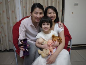 Vivian Chen and Corrine Chiang with their daughter, Zola, aged three