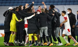 Slavia Prague players celebrate after the match.