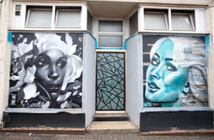 Shop front art. On the left a piece by Philth, the alter ego of Phill Blake, a graphic designer and illustrator who produces drawings and paintings for exhibitions and commissions, paints murals, and takes part in live art events up and down the country. On the right, a piece by N4T4, an artist who paints shops, clubs and canvas's for a living, but says their real love is finding unloved spots and leaving them more beautiful than when they found them